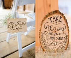 DIY Signs. These fantastic signs, from inspiredbythis.com, can be recreated using wood signs and a wood burner found at Afloral.com