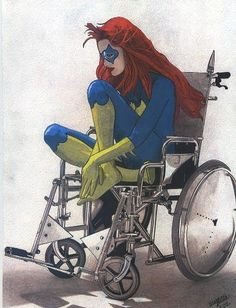 """I doubt very many people actually get why this picture is significant... You see, the Joker shot Batgirl in the spine and permanently paralyzed her. Which is why she's in a wheelchair. ... and now goes by the name """"Oracle""""."""