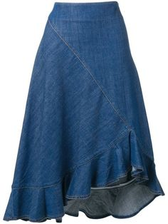 Shop online blue Kenzo denim ruffled skirt as well as new season, new arrivals daily. Phenomenal luxury selection, get it now with quick Global Shipping or Click & Collect orders. Skirt Midi, Ruffle Skirt, Dress Skirt, Kenzo, Looks Adidas, Denim Fashion, Fashion Outfits, Denim Skirt Outfits, Asymmetrical Skirt