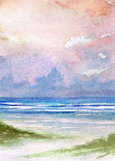 Seashore Sunset Painting by Rosie Brown - Seashore Sunset Fine Art Prints and Posters for Sale Watercolor Sunset, Sunset Art, Abstract Watercolor, Watercolor Paintings, Simple Watercolor, Watercolor Landscape Tutorial, Beach Paintings, Sunset Canvas, Seascape Paintings