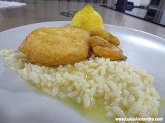 Mimos de Pescada e Miolo de Camarão Grande Panados com Arroz de Manteiga - http://gostinhos.com/mimos-de-pescada-e-miolo-de-camarao-grande-panados-com-arroz-de-manteiga/