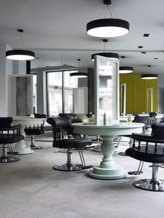 Round table hair salon stations... could be square too?