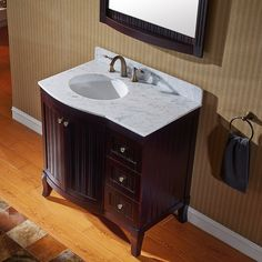 Virtu USA Khaleesi 36 inch Single Sink Espresso Vanity with Carrara White Marble Countertop with Backsplash - Overstock™ Shopping - Great Deals on VIRTU Bathroom Vanities