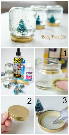 Turn use Baby Food Jars into mini Snow Globes! These make cute party favors or handmade Christmas Gifts idea.
