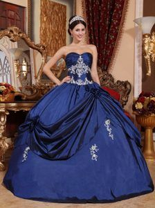 c9f7066309 Sweetheart Navy Blue Ball Gown Satin Quinceanera Dress with Appliques and  Pick-ups Navy Blue