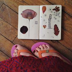 Dessin et fleurs séchées dans carnet Moleskine Sophie Plouvier