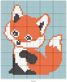 fox c2c baby blanket | Designed by Suzy Walkling | Stitch Fiddle - Stitch Fiddle