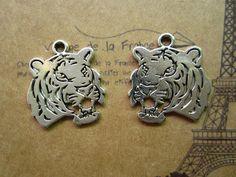 6pcs 28x25mm antique silver tiger charms pendant by joyny on Etsy, $2.79