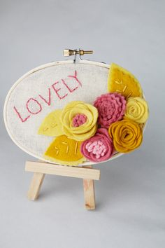 Hoop Art with Felt Flowers  Lovely  Yellow and by CatshyCrafts, $36.00