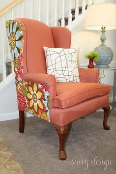 This is a really interesting option for Wingback Chair Reupholstering. Check out how she redid her chair, do it yourself!