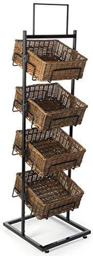 Wicker Basket Stand with 4 Tiers, Wicker & Steel Construction, Floor Standing – Natural & Black