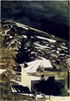 Andrew Wyeth, Wolf Moon, 1975, watercolor on paper. Private collection