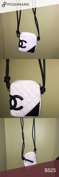 CHANEL LIGNE CAMBON CROSSBODY AUTHENTIC CHANEL LIGNE CAMBON CROSSBODY BAG. BLACK AND WHITE  6 in.Hx5 in.Wx1.25 in.D 15 cmHx13 cmWx3 cmD  gently used CHANEL Bags Crossbody Bags