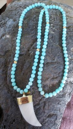Blue jade long beaded necklace with large white by PanachebyAmanda, $90.20