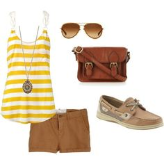 Camel shorts, striped tank top, necklace, brown bag  sandals. DONE :) I have copied.