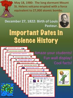 A set of calendars with important dates in science history.  One fun fact for each day!