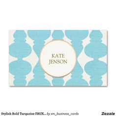 Stylish Bold Turquoise FAUX Linen Pattern 2 Double-Sided Standard Business Cards (Pack Of 100)