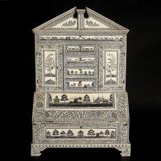- Vizagapatam ivory veneered miniature bureau cabinet