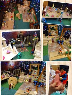 "Superheroes & Princesses in the small world area - from Rachel ("",) Early Years Maths, Early Years Classroom, Role Play Areas, Tuff Spot, Block Play, Superhero Classroom, Small World Play, Pre Kindergarten, Dramatic Play"