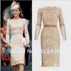 Awesome champagne lace dress knee length 2018/2019 Check more at http://24myfashion.com/2016/champagne-lace-dress-knee-length-20182019/