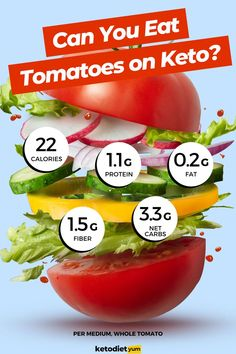 Can You Eat Tomatoes On The Keto Diet? Keto Recipes, Vegetarian Recipes, Snack Recipes, Snacks, Vegetarian Ketogenic Diet, Recipes For Beginners, Can I Eat, Ketogenic Diet For Beginners, Low Carb Diet