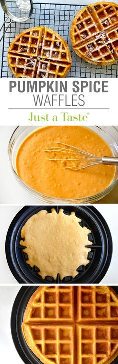 Pumpkin Spice Waffles Recipe via justataste.com | Add a seasonal spin to a…