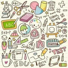 Kunst Zeichnungen - Cute Doodle Back to School Vinyl Wall Mural ✓ Easy Installation ✓ 365 Day Mo. Doodle Sketch, Doodle Drawings, Easy Drawings, Chalk Drawings, Griffonnages Kawaii, Karten Diy, Kawaii Doodles, Food Doodles, Doodle Inspiration