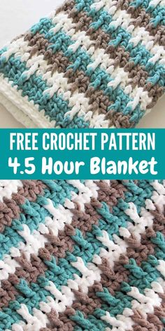 Bag Crochet, Manta Crochet, Crochet Crafts, Chunky Crochet, Crochet Projects, Crochet House, Crochet Twist, Booties Crochet, Striped Crochet Blanket