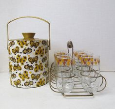Vintage Libbey Butterfly Gold Tumbler Set in Caddy with Ice Bucket.