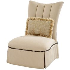 "El Dorado Furniture - Emmett 30"" Accent Chair ❤ liked on Polyvore featuring home, furniture, chairs, accent chairs, nailhead furniture, beige accent chair, ivory chair, skirted chair and cream accent chair"