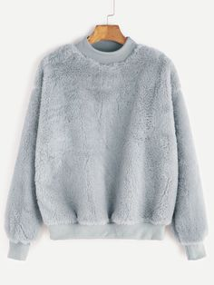 SheIn offers Contrast Ribbed Trim Drop Shoulder Fluffy Sweatshirt & more to fit your fashionable needs. Pullover Hoodie, Hoodie Sweatshirts, Sweatshirts Online, Sweater Hoodie, Grey Sweatshirt, Hoodies, Casual Skirt Outfits, Girl Outfits, Cute Outfits