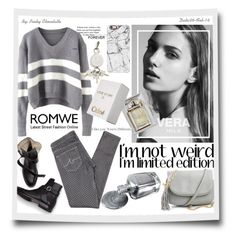 """ROMWE - V Neck Striped Grey Sweater"" by pinky-chocolatte ❤ liked on Polyvore featuring AG Adriano Goldschmied, Quiksilver, Casetify, Alexander Wang, Chloé, women's clothing, women, female, woman and misses"