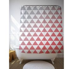 Graphic Gradient Shower Curtain, Graphic Art, Geometric Triangles, Custom Color, Bath Decoration, Design Curtain