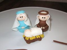Nativity Figures - Was making a cute little nativity cake for our church Christmas Play until my daughter got sick. So all I have is a pic of Mary and Joseph.