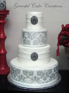 https://flic.kr/p/jr6dQ1 | Elegant White Wedding Cake with a Silver Damask Design