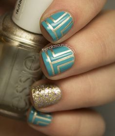 diseños de uñas color dorado u oro Uk Nails, Hair And Nails, Teal Nails, Nail Polish Designs, Cute Nail Designs, Fancy Nails, Love Nails, Gorgeous Nails, Pretty Nails
