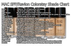 Fix Fluid shades compared to Revlon Colorstay shades.Studio Fix Fluid shades compared to Revlon Colorstay shades. Kiss Makeup, Makeup Kit, Love Makeup, Makeup Products, Basic Makeup, Makeup Hacks, Makeup Ideas, Beauty Products, Revlon Colorstay Shades