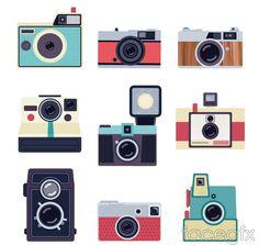 9 color retro camera design vector graph