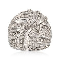 1.25 ct. t.w. Diamond Domed Crossover Ring in Sterling Silver