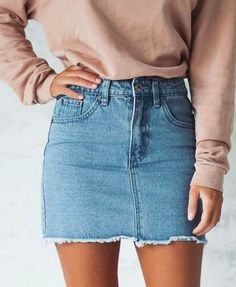 @kamplainnn ❃ fall winter style fashion outfit jean skirt light pink sweatshirt