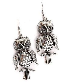 """Silver-burnish, metal casting owl 2.5"""" drop/fish-hook also available in gold"""