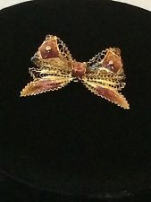 Vintage Gilt Gold Plated 800 Silver Enamel Filigree Bow Brooch Pin