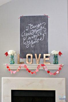 Happy, handmade Valentine's Day mantel