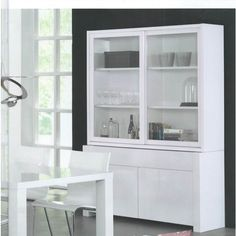 Buffetkast Extreem Hoogglans Wit New Kitchen, Kitchen Dining, Living Room Cupboards, Glass Cabinet Doors, Fixer Upper, Bathroom Medicine Cabinet, Shelving, Sweet Home, Art Deco