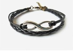 Pin Jewelry Antique Silver Infinity Bracelet Leather Karm...