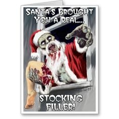 Zombie Santa Scary Horror Funny humour humor Christmas Greeting Card - Christmas, Seasonal, Festive, Holidays, Gifts, Presents, Santa Claus, Father Christmas, gore, meat, flesh, beard, outfit,