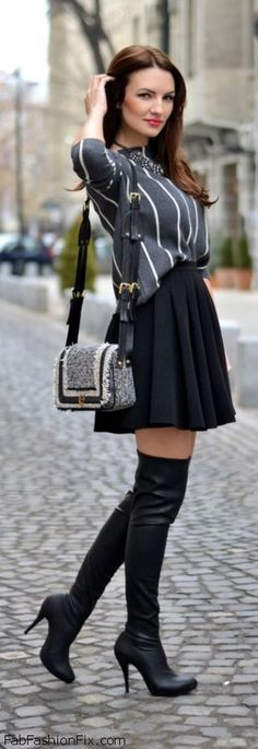 Black leather over-the-knee boots love #shoeshighheelsboots