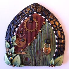 I've been resisting starting a board just for miniture fairy villages but I don't think I can fight that lovin' feelin' anymore! Steampunk Fairy Door Pixie Portal in Green by Claybykim on Etsy, Fairy Garden Doors, Fairy Garden Houses, Fairy Doors, Clay Projects, Clay Crafts, Pixie, Steampunk Fairy, Steampunk Gears, Clay Fairy House