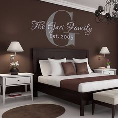 Family Monogram Wall Decal- Personalized Wall Decal - Name Wall Decal - Family Name Wall Decal - Wedding 15 inches tall