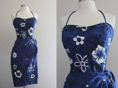 1960s Hawaiian Dress / Vintage 60s Navy by SavvySpinsterVintage, $175.00